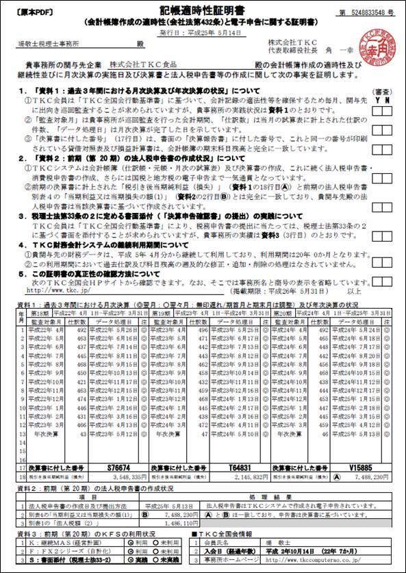 記帳適時性証明書